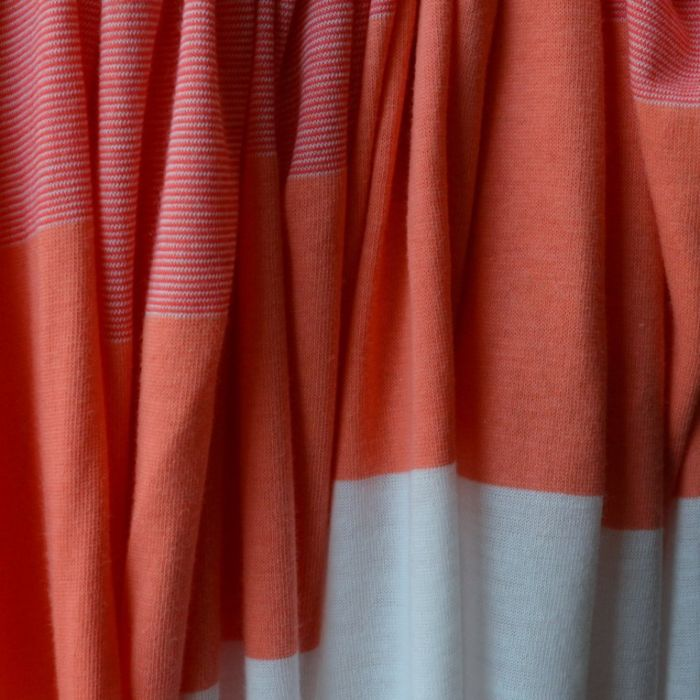 California Girls - Coral White Striped Viscose Jersey - d