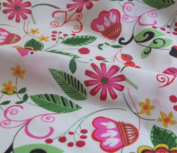 Bet n Like - Pink - Floral Poly Cotton - cu