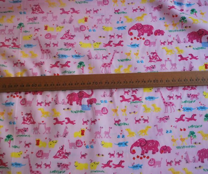 Two be Two - Ditsy pink cotton animal print fabric - s