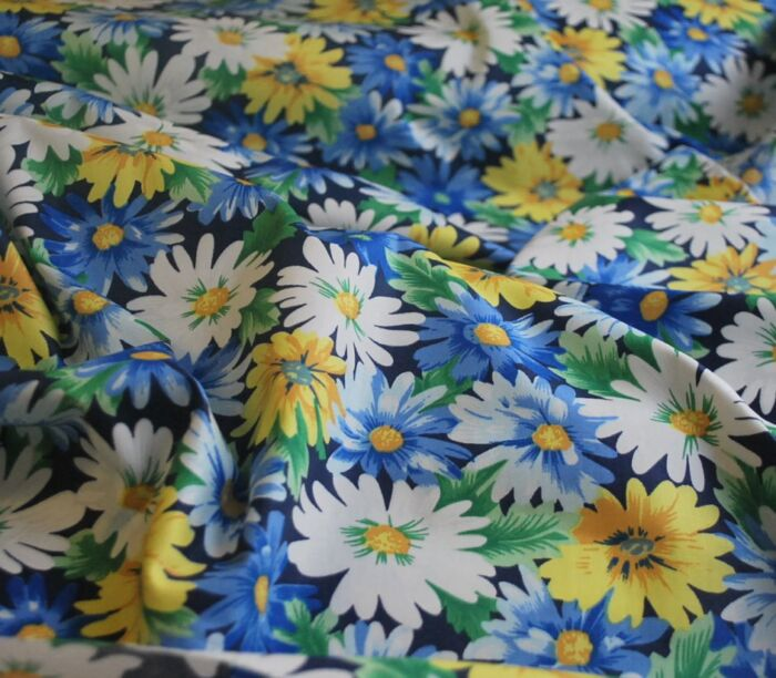 Zandra - Blue Cotton floral dress fabric