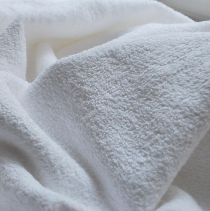 White Towelling fabric cotton close up