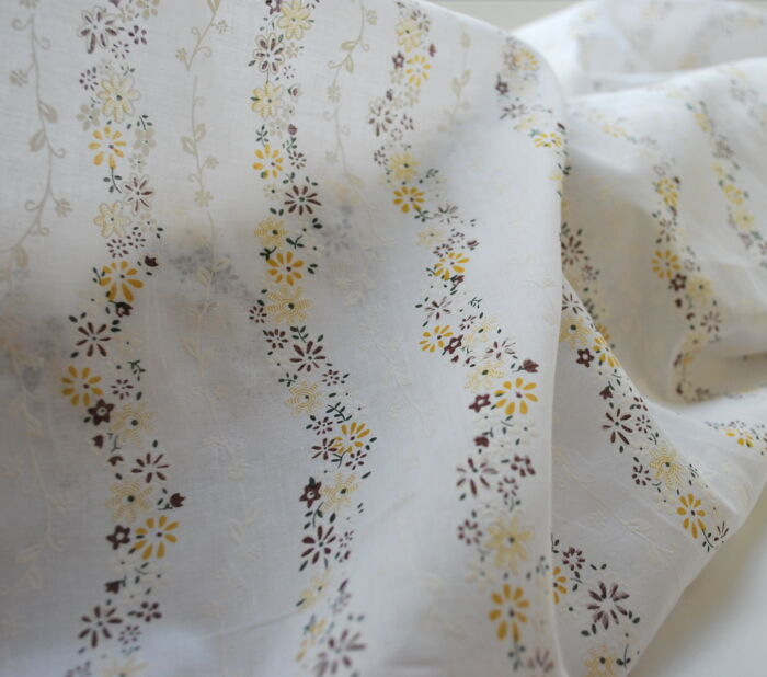 Alpino Cotton Dress Fabric Brown and White ll